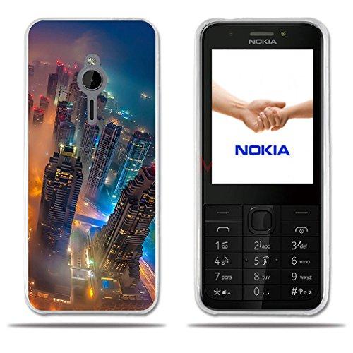 FUBAODA für Nokia 230 Hülle, [City House Forest] Transparente Silikon Clear TPU Creative 3D Slim Flexible Anti Schock Beschützer für Nokia 230