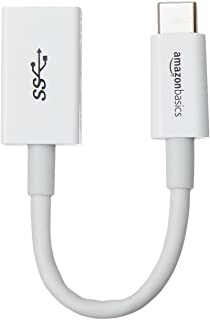 AmazonBasics USB Type-C to USB 3.1 Gen1 Female Adapter Cable - White