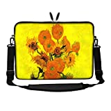 Meffort Inc 15 15.6 inch Neoprene Laptop Sleeve Bag Carrying Case with Hidden Handle and Adjustable Shoulder Strap - Van Gogh Sunflowers