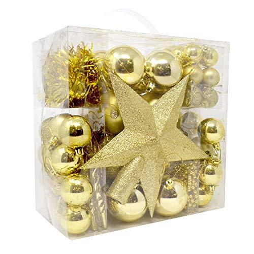 BAKAJI Confezione 77 Palline di Natale Superficie Lucida e Opaca Diametro 6 cm con Puntale Forma Stella Addobbi e Decorazioni per Albero di Natale (Oro)