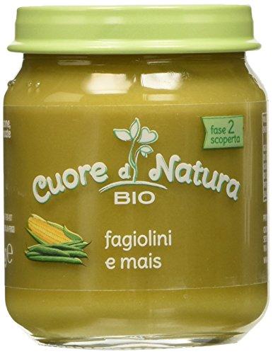 Cuore di Natura - Omogeneizzato Fagiolini e Mais Bio - Confezione da 6 vasetti x 110 g