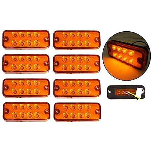8 luces LED de gálibo de posición lateral de 12 V, 8 ledes, luz fuerte de color naranja para camión, autobús, remolque, caravana