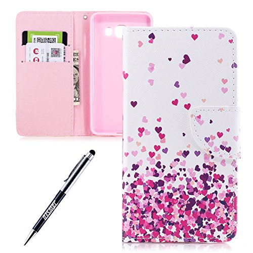 JAWSEU Coque Galaxy J5 2016,Etui Galaxy J5 2016 Portefeuille PU à Rabat Belle Coloré Cuir Folio Housse de Protection Ultra Mince Leather Wallet Case Stand Magnétique Flip Cover,Papillon