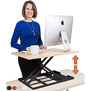 """Stand Steady X-Elite Pro Standing Desk Converter   Instantly Convert Any Desk into a Sit to Stand Up Desk   Easy Lift Height Adjustable Standing Desk   No Assembly Required! (28"""" x 20"""" / Maple)"""