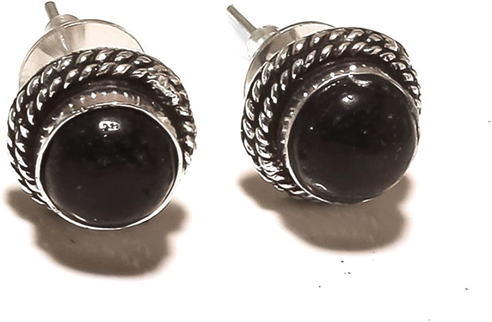 Gift For Spouse High material Black ONYX Gems Exotic mm EARRING OFFicial mail order STUD Silver 4