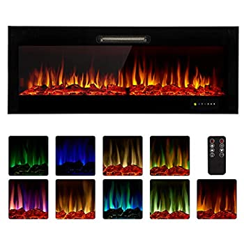 Homedex 50  Recessed Mounted Electric Fireplace Insert with Touch Screen Control Panel Remote Control 750/1500W Log/Crystal Options