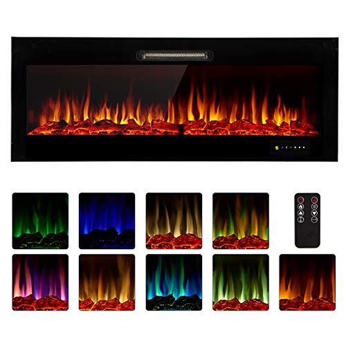 Homedex 50' Recessed Mounted Electric Fireplace Insert with Touch Screen Control Panel, Remote Control, 750/1500W, Log/Crystal Options