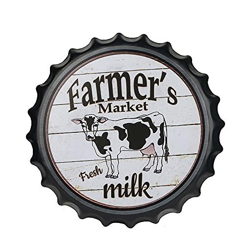 yunuo Farmers Market - Plaque décorative en métal pour capsules de bouteilles - Décoration murale vintage - Pour café, bière et bar - 39,9 cm