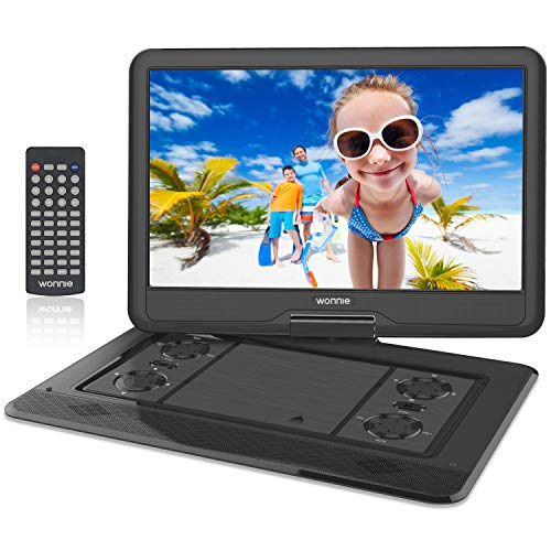 WONNIE 17.9'' Large Portable DVD/CD Player with 15.6 Swivel Screen, 1366x768 HD LCD TFT, USB/SD Card Readers, Built-in 5600mAH Rechargeable Battery, Stereo Sound, Regions Free, AV IN & AV OUT