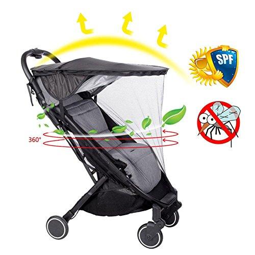 Poussette universelle Sun Shade Canopy avec moustiquaire, housse de pluie poussette (en option), noir