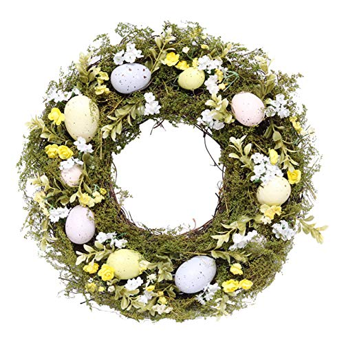 Flower Garland Realistic Durable Practical Wreath Hanging Ornament for Porch -Green