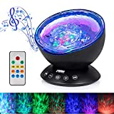[Newest Design] Remote Control Ocean Wave Projector 12 LED &7 Colors Night Light with Built-in…