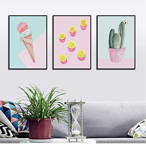 N/A wandprints en poster cartoon ijs citroen dessert plant canvas schilderijen muurkunst afbeeldingen posters en druk woonkamer 40X60Cmx3 niet ingelijst