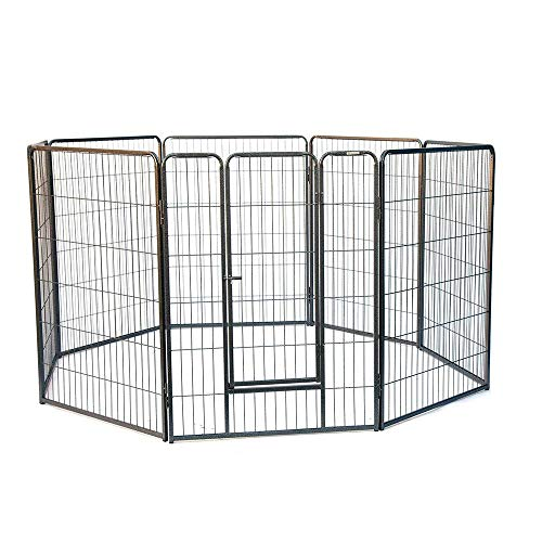 My1stPet 8 Panels Metal Exercise Dog Playpen with Door, Hammertone, 32'
