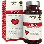 Viva Naturals CoQ10 Supplement with BioPerine (100mg) - 150 Softgels