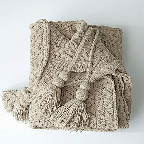 SYLTL Manta Tejida 100% algodón, Simplicidad Moderna Espina de Pescado Tejido Manta de Punto Puro algodón(130 * 160CM),Marrón