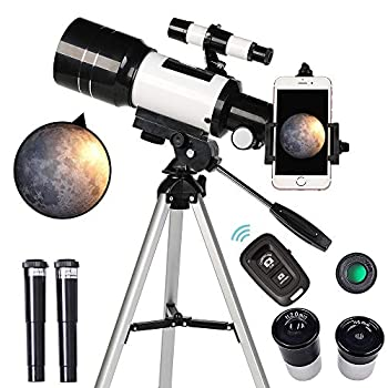 ToyerBee Telescope for Kids& Beginners 70mm Aperture 300mm Astronomical Refractor Telescope Tripod& Finder Scope- Portable Travel Telescope with Smartphone Adapter and Wireless Remote