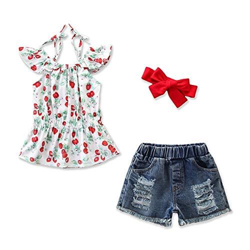 HaiQianXin 3-delige set voor kinderen, meisjes, casual kleding, top kersen + broek met gat + haarband met strik (kleur: 5Y-6Y)