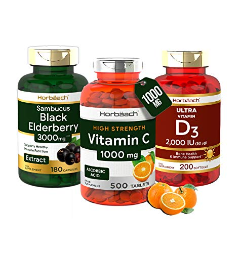Immune System Booster Bundle | Vitamin C 1000mg | Vitamin D3 2000iu | Black Elderberry Extract 3000mg | Natural Immune Support Supplement | 880 Fill | by Horbaach