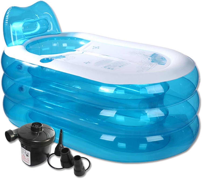 HDSW Aufblasbare Badewanne, Erwachsene Tragbare Klappbadewanne Super Dick PVC Spa Pool Duschwanne Heisaugen für Kinder Mit Elektrische Luftpumpe (L)