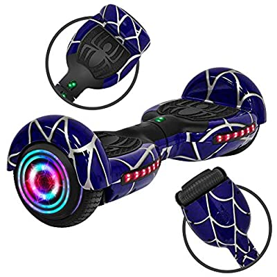 Rawrr Hoverboard Electric Self Balancing Scooter with LED Wheel Lights and Bluetooth Speakers for Kids and Adults, UL2272 Certified, Special Blue Pattern