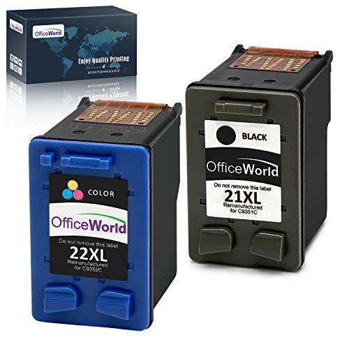 OfficeWorld 21XL 22XL Cartucho de tinta refabricado para usar en lugar de HP 21 22 XL para HP PSC 1410 1417, HP Deskjet F370 F380 F4180 F2180 F2280 F2290 D2460 D1560 D1460 (1 Negro, 1 Tricolor)