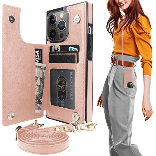 Taporse for iPhone 13 Pro Crossbody Wallet Case with Credit Card Holder, Detachable Crossbody Lanyard Strap, Magnetic Kickstand Protective Shockproof RFID Blocking Cover Handbag 2021 6.1