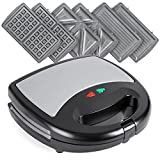 Best Choice Products 3-in-1 750W Dishwasher Safe Non-Stick Stainless Steel Electric Sandwich Waffle...