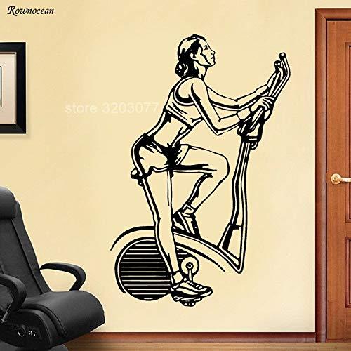 Bicicleta estática Fitness Club Sports Fitness decoración del hogar Tatuajes de Pared Vinilo Adhesivo decoración de la habitación extraíble Autoadhesivo Mural 42x64cm