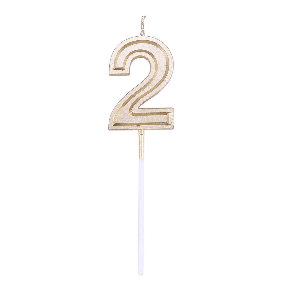 毛細血管解放する大気Toyvian ゴールドラメ誕生日おめでとう数字キャンドル番号キャンドルケーキトッパー装飾用大人キッズパーティー(ナンバー2)