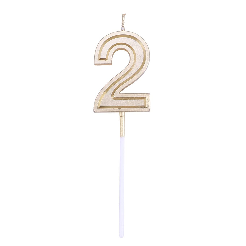 知覚する刻むインデックスToyvian ゴールドラメ誕生日おめでとう数字キャンドル番号キャンドルケーキトッパー装飾用大人キッズパーティー(ナンバー2)