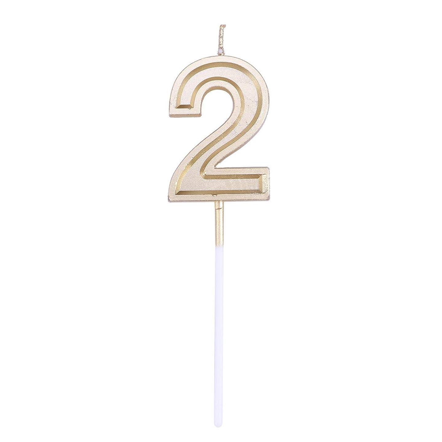 。累計準拠Toyvian ゴールドラメ誕生日おめでとう数字キャンドル番号キャンドルケーキトッパー装飾用大人キッズパーティー(ナンバー2)