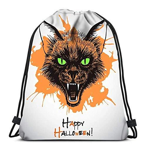Hdadwy Mochila con cordón Bolsas Feliz Halloween Cabeza de Gato Negro Aterrador con Boca Abierta y Colmillos Desnudos Dibujo de Tinta Bolsas de cincha Plegables