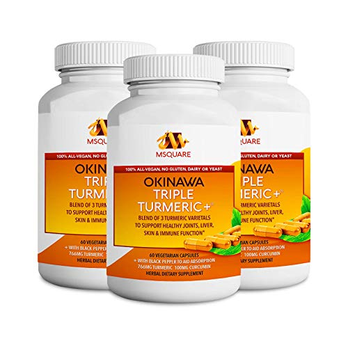 Okinawa Triple Turmeric +® Turmeric Curcumin Supplement with Black Pepper Extract to Aid Absorption, 765 mg Turmeric from 3 Varietals & Curcumin, Joint Pain Relief, 180 Vegetarian Capsules