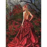Diamond Painting Belleza del vestido rojo, Cuadros Diamantes 5D para Adultos/Niños, DIY Pintura de Diamantes Kit Cristal Rhinestone Punto de Cruz Bordado Art Decor de Paredes Round drill,40x50cm