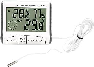 CuiGuoPing Termómetro higrómetro digital LCD con sonda, 7 × 8 cm, color blanco