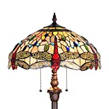 Capulina Hand-Crafted Tiffany Dragonfly Floor Pole Lamp, Tiffany Floor Lamps for Reading, Floor Lamps Tiffany Style Shade W18', Stained Glass Floor Pole Lamps, Tiffany Standing Lamps (Tall: 70 inches)