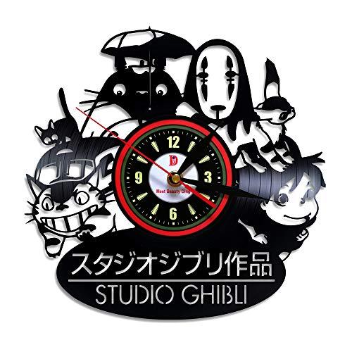 Bonito reloj de pared de vinilo Ghibli anime para colgar en el hogar, decoración retro, regalo elegante para el dormitorio de los hombres, Halloween, Navidad (30,5 cm redondo negro)
