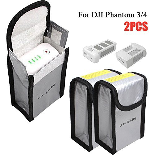 Glaray Bolsa de Seguridad de la batería para dji Phantom 3/4, RC Lipo Bolsa de protección de la batería para una Carga y Almacenamiento Seguros, a Prueba de explosiones, 150x90x55mm, 2 Piezas