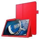 Caja Protectora de la Tableta Litchi Texture - Funda de Cuero de Color sólido con Flip Horizontal y Soporte for Lenovo Tab 2 A10-30 X30F y Tab 2 A10-70F, 10.1 Pulgadas (Negro) (Color : Red)
