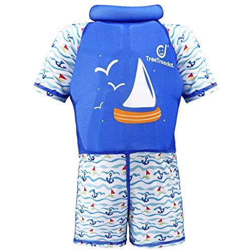 Traje de Flotación para Niñas Niños - Bebé Flotante Bañadores Manga Corta Ropa de Natación UV Protección Solar Traje de Baño Natación Aprendizaje 1-7