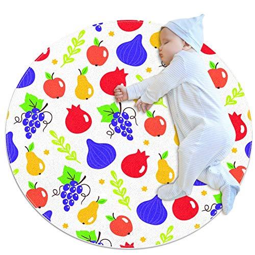 Patroon met Shavuot fruit en joodse sterren op witte achtergrond. Vijg granaatappel Druiven Peer Appel. Perfect voor behang voedsel achtergrond en joodse feestdagenBaby tapijt voor kinderdagverblijf Kids ronde warme zachte activiteit Mat vloerbedekking Anti-slip voor kinderen Peuters Slaapkamer, 27.6x27.6IN