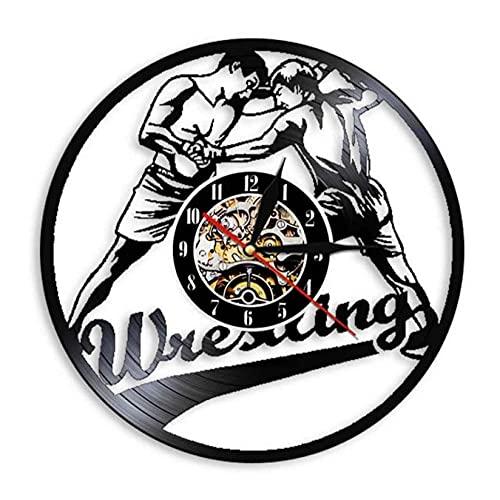 LTMJWTX Reloj de Pared con Registro de Vinilo Deportivo de Combate con gramófono de Lucha Libre para Hombre, Reloj de Pared con diseño Moderno de Lucha Libre, Reloj Colgante, Regalo