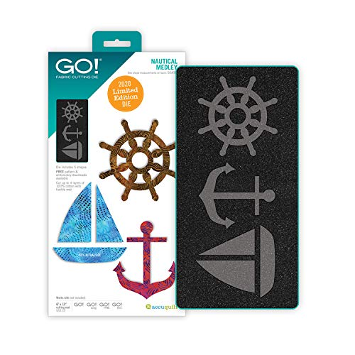 AccuQuilt GO! Nautical Medley Limited Edition Fabric Cutting Die. Includes Ship's Wheel, Sailboat, and Anchor Shapes for Applique Quilting Projects.