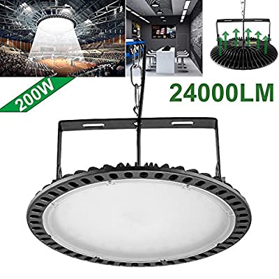 100w,200w,300w UFO LED High Bay Lighting, Getseason,6000-6500K,IP54,Waterproof Dust Proof, Warehouse LED Lights- LED High Bay Lighting - High Bay LED Lights (200)