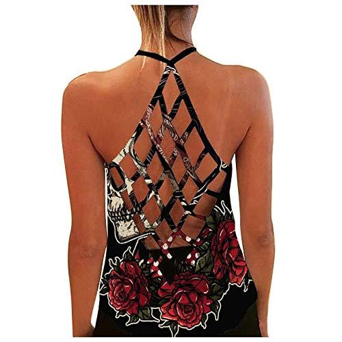 XOXSION Camiseta de tirantes para mujer con espalda descubierta, de verano, con estampado de girasoles, cuello redondo, sin mangas, sexy, blusa a la moda, chaleco hueco, túnica D rojo. L
