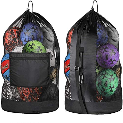 Extra Large Ball Bag,Duty Mesh Equipment Bag,Adjustable Shoulder and Portable Design Fit Adults and Kids, Large Front Pocket for Sporting Accessories,Best for Soccer Ball, Basketball, Swimming Gears