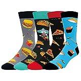 HAPPYPOP Herren-Socken, 4er-Pack, Lebensmittel-Socken, Neuheit Obst-Socken mit Geschenk-Box - - Medium