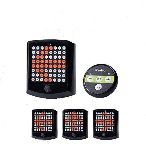 LU2000 LED bicicleta trasera Luces Indicadores de dirección lámpara, luz de aviso para bicicleta con 3 modos de luz, IP55, USB Batería Piloto Trasero con mando a distancia inalámbrico, color negro