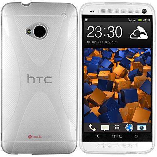 mumbi Hülle kompatibel mit HTC One M7 Handy Case Handyhülle, transparent Weiss